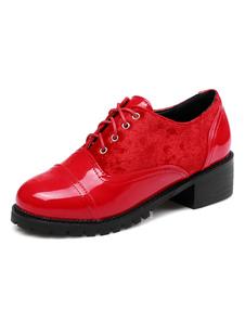 Zapatos de Oxford con cinta de puntera redonda de tacón gordo para mujer estilo street wear Color liso Primavera f1mPYXOF