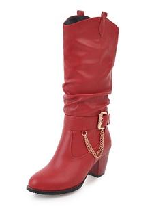 Botas de mitad de la pantorrilla de PU rojo  de puntera redonda 6.5cm de tacón gordo con hebilla Color liso Otoño Invierno slip-on
