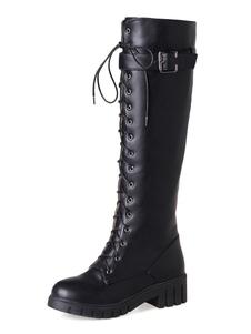 Черные кружевные сапоги Женщины Боевые сапоги Круглые носки Металлические детали Коленные сапоги