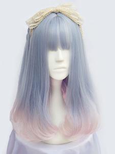 Harajuku Lolita Длинные парики Curly Tousled слоистые светло-голубые парики Лолита с Bangs