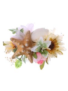Tiara no cabelo de flor de seda para mulher Pente acessórios cor de champanhe Não personalizado