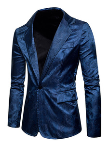 Giacca Formale da Uomo  2020 Vestibilità Classica con colletto abito formale festa damascato Cotone misto