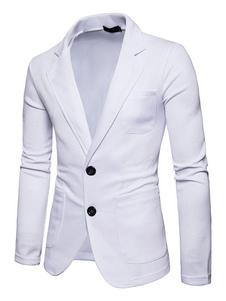Blazer de hombre blanco 2020 cuello vuelto manga larga chaqueta de primavera regular entallada