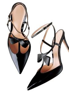 Scarpe con tacchi alti donna nere pU Verniciata a punta tacco a fino 10cm monocolore fiocchi