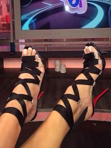 Женские гладиаторские сандалии Черный открытый носок зашнуровать сандалии туфли на высоком каблуке