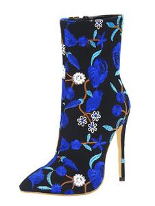 Botas de tornozelo azul Sapatos de mulher Sapato de ponta pontilhada Botas de salto alto bordadas florais
