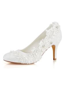 Sapatos De Casamento 2020 Rendas Rodada Toe Deslizamento Em Sapatos De Noiva Mulheres Sapatos De Salto Alto