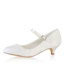 الدانتيل أحذية الزفاف جولة تو ماري جين أحذية الزفاف هريرة كعب أحذية الأم