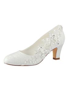 Zapatos de novia de encaje Zapatos de Fiesta de tacón gordo Zapatos marfil  Zapatos de boda de puntera redonda 6.5cm con cristal