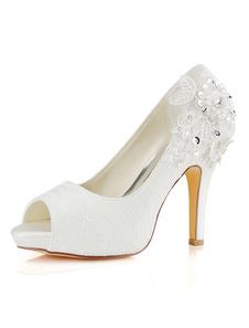 الدانتيل أحذية الزفاف العاج الدانتيل اللمحة تو أحذية عالية الكعب الزفاف
