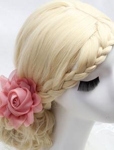 الزفاف الوردي أغطية الرأس زهرة الشيفون اكسسوارات الشعر الزفاف