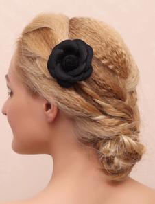أسود الزفاف أغطية الرأس الحرير الزهور اكسسوارات للشعر الزفاف