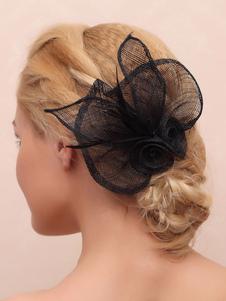 Preto Noiva Headpieces Feathers Flower Acessórios de cabelo nupcial