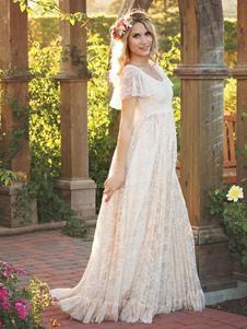 Vestido longo em renda Vestido curto com mangas curtas em branco para mulheres