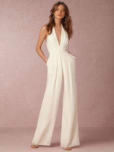 White Women Jumpsuit Halter Backless Sleeveless Wide Leg Long Jumpsuit