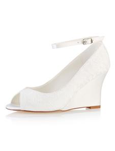 Кружева Свадебная обувь Ivory Peep Toe Wedge Shoes Лодыжка ремешок Свадебная обувь