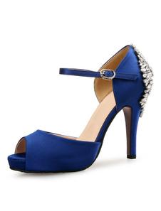 Синие свадебные туфли атласные пальцы ноги Rhinestones пряжки подробно высокой пятки свадебные туфли
