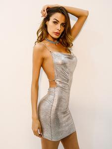 Vestito Paillettes Abito da Donna 2020 con Strass Glitter Senza Maniche Senza Maniche Argento Club Wear