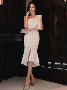 Vestito aderente da donna 2020 Abito aderente bianco Abito corti vestito femminile Abito con scollo a V a balze arricciate con fiocco
