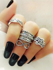 ファッション指輪 シルバー パンク 巡遊 合金