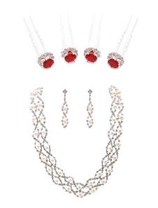 Свадебные ювелирные изделия Набор Рубин Шпилька с Rhinestone Pearl Choker Necklace and Dangle Earring