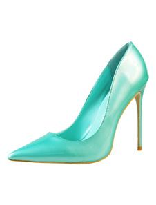 Zapatos de tacón de puntera puntiaguada de PU Cian Color liso de tacón de stiletto
