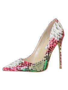Zapatos de tacón de puntera puntiaguada de PU con estampado de serpiente de tacón de stiletto