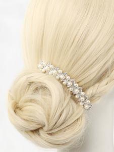 Peitos de peito de Casamento Pérolas brancas Rhinestone Beaded Acessórios para o cabelo nupcial