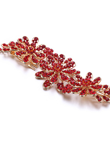 Red Wedding Headpieces Comb Rhinestones Beaded Alloy Bridal Hair Accessories