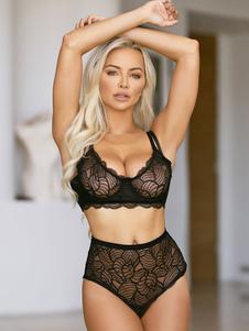 Reggiseno completi intimi nero nylon elasticizzato accessori non inclusi. donna 2-Pezzi monocolore reggiseno&slip