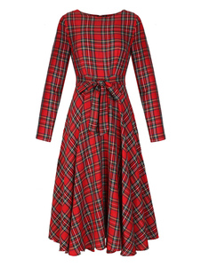 Vestido comprido vermelho clássico para street wear gola redonda com mangas compridas