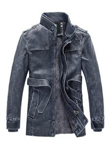 Giacca di Pelle da Uomo chic & moderna con colletto alla coreana monocolore con Zip molto spesso vestibilità Slim