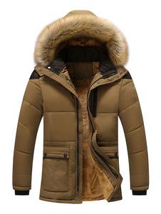 معطف الرجال عارضة فروي مقنع سترة معطف القطن ملء أفخم بطانة الشتاء أسفل معطف