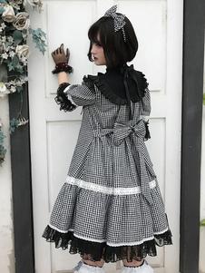 Sweet Lolita Plaid One Piece Dress Op Стенд Воротник с половиной рукавом платье