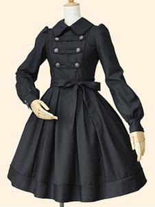 Vestido Lolita de Mangas para informal com mangas compridas de algodão clássico & tradicional com dois tons