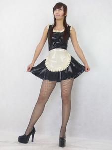 Saia feminina de látex para adultos Látex unisexo com dois tons de látex empregada conjunto preta