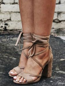 Sandaliad de Gladiator de color albaricoque 2020 sandalias de talla grande de ante puntera abierta con cordones Sandalias con tacón alto de mujer