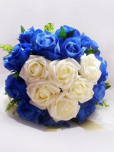 Цветочный свадебный букет Синий 2 цвета Милые шелковые ленты Свадебные букеты