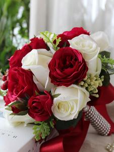 Flores de casamento de flor de seda Redondo Buquê de Casamento vermelhas