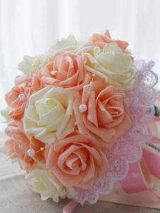 زهرة باقة الزفاف الدانتيل الشمبانيا أشرطة الحرير باقات الزفاف