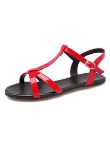 Sandalias Plataforma Sin Tacones De Color Rojo De Mujer De Punta Abierta Sandarias De Estilo T Detalles De Hebilla