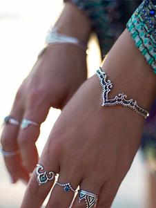 Браслет браслета Бохо открытый браслет серебряный тиснением