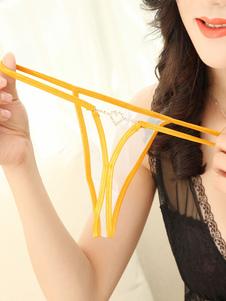 Женщины Sexy T Назад Желтые стразы Sheer Nylon Panties