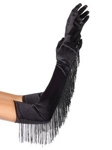 Guantes de mujer negro Guantes de nylon con flecos largos