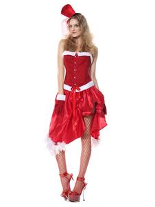 Disfraz Carnaval Disfraz de duende de Navidad traje de traje de mujer de terciopelo rojo y falda Top 4 piezas Carnaval