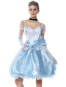 هالوين مثير زي الأميرة سندريلا المرأة ضوء السماء الزرقاء فساتين الزي