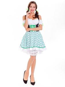 Костюм Дня Святого Патрика Хэллоуин Трава Зеленые Платья Шляпа Женщины