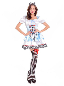 Disfraz Carnaval Disfraz de Halloween Alice In Wonderland Mujeres Vestidos y Tocados Celestes Carnaval