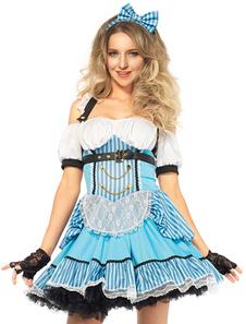 Disfraz Carnaval Disfraz de Halloween Alicia en el país de las maravillas traje de vestidos celestes Carnaval