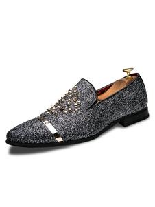 Серебряная обувь Loafer Мужчины Loafers Блеск Круглый Toe Заклепки Slip On Shoes
